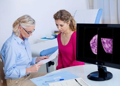 GP and patient discussing mammogram results